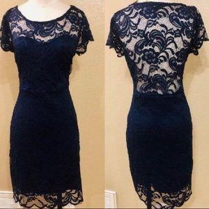 NWT Ci Sono by Cavalini Navy blue lace dress